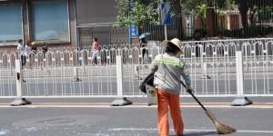 Straßensäuberung nach einem Unfall
