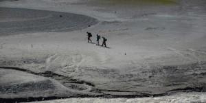 Wanderer auf dem Seeboden