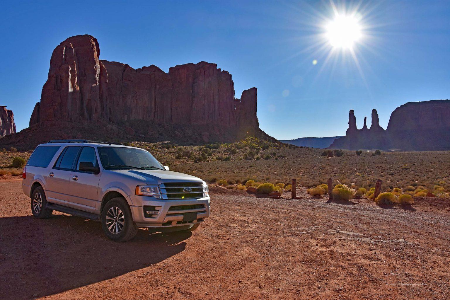 Unser Mietwagen im Monument Valley