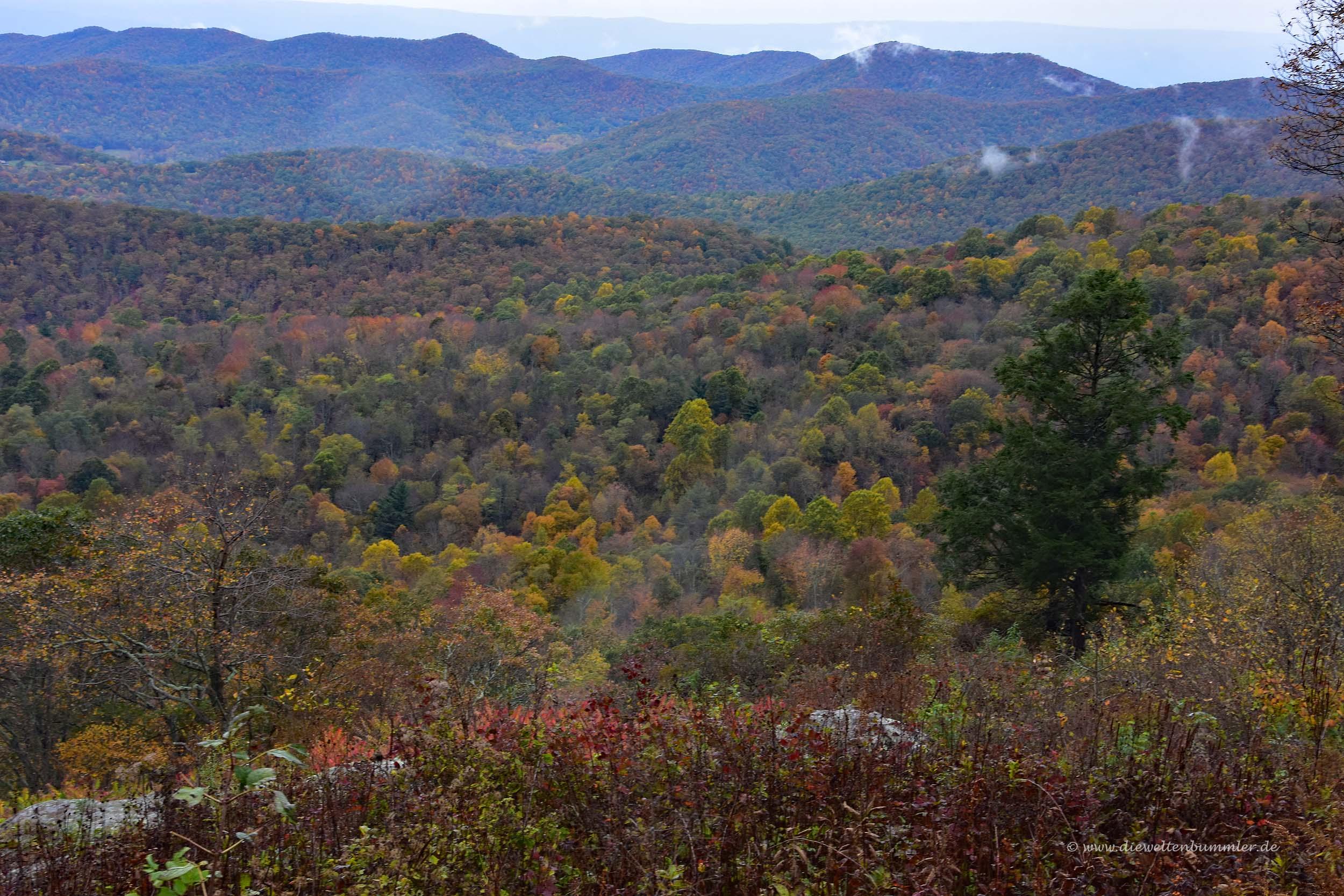 Ausblick zu den Blue Ridge Mountains