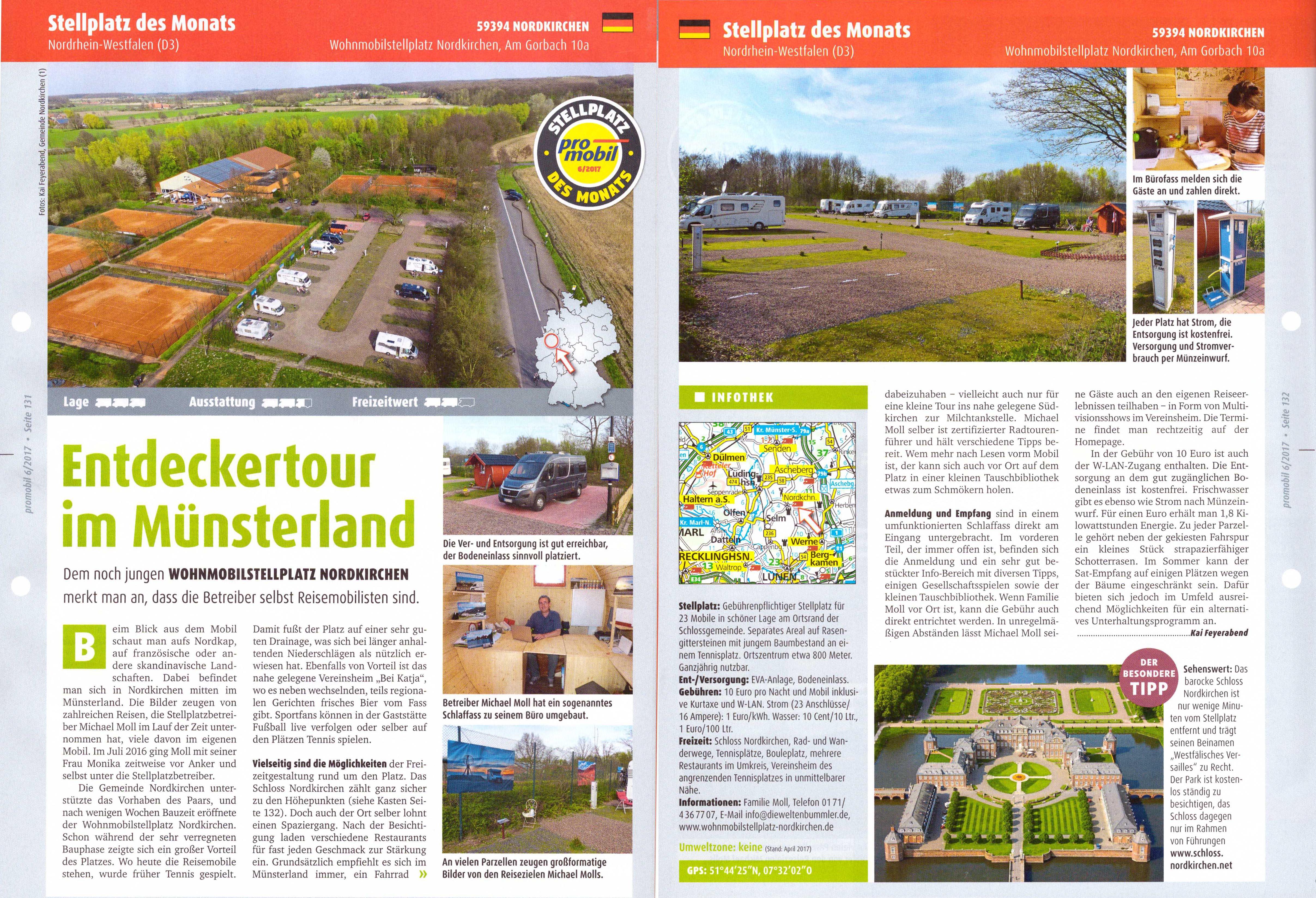 """Promobil """"Stellplatz des Monats"""", Ausgabe Juni 2017"""
