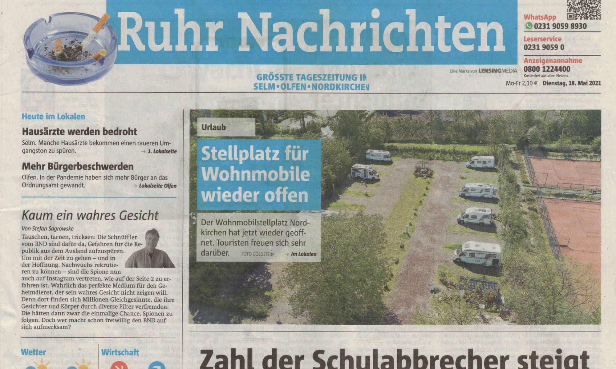 Ruhrnachrichten - Titelseite vom 18. Mai 2021