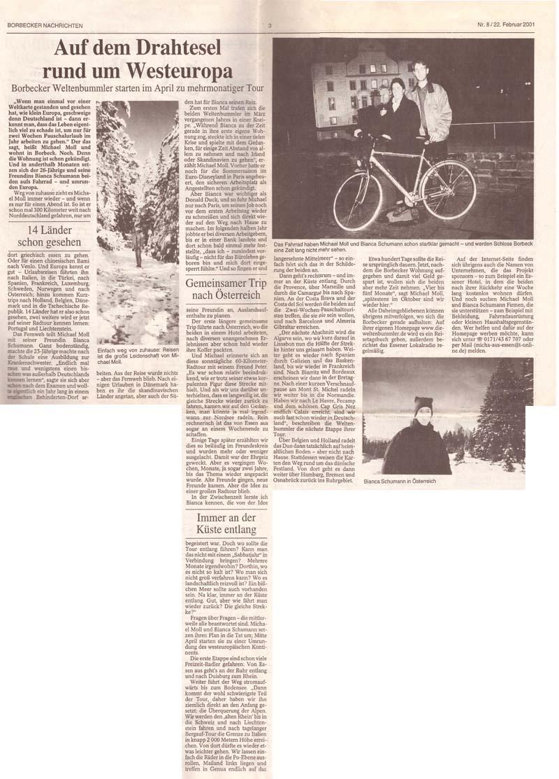 Borbecker Nachrichten vom 22. Februar 2001