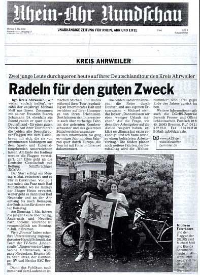 Rheinahrrundschau vom 6. Mai 2002