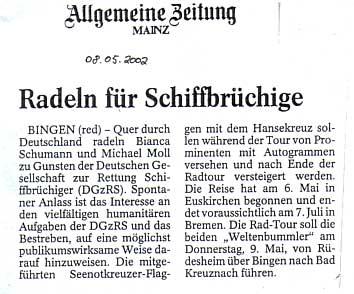 Allgemeine Zeitung Mainz vom 8. Mai 2002