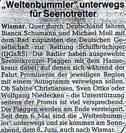 Ostseezeitung vom 5. Juni 2002