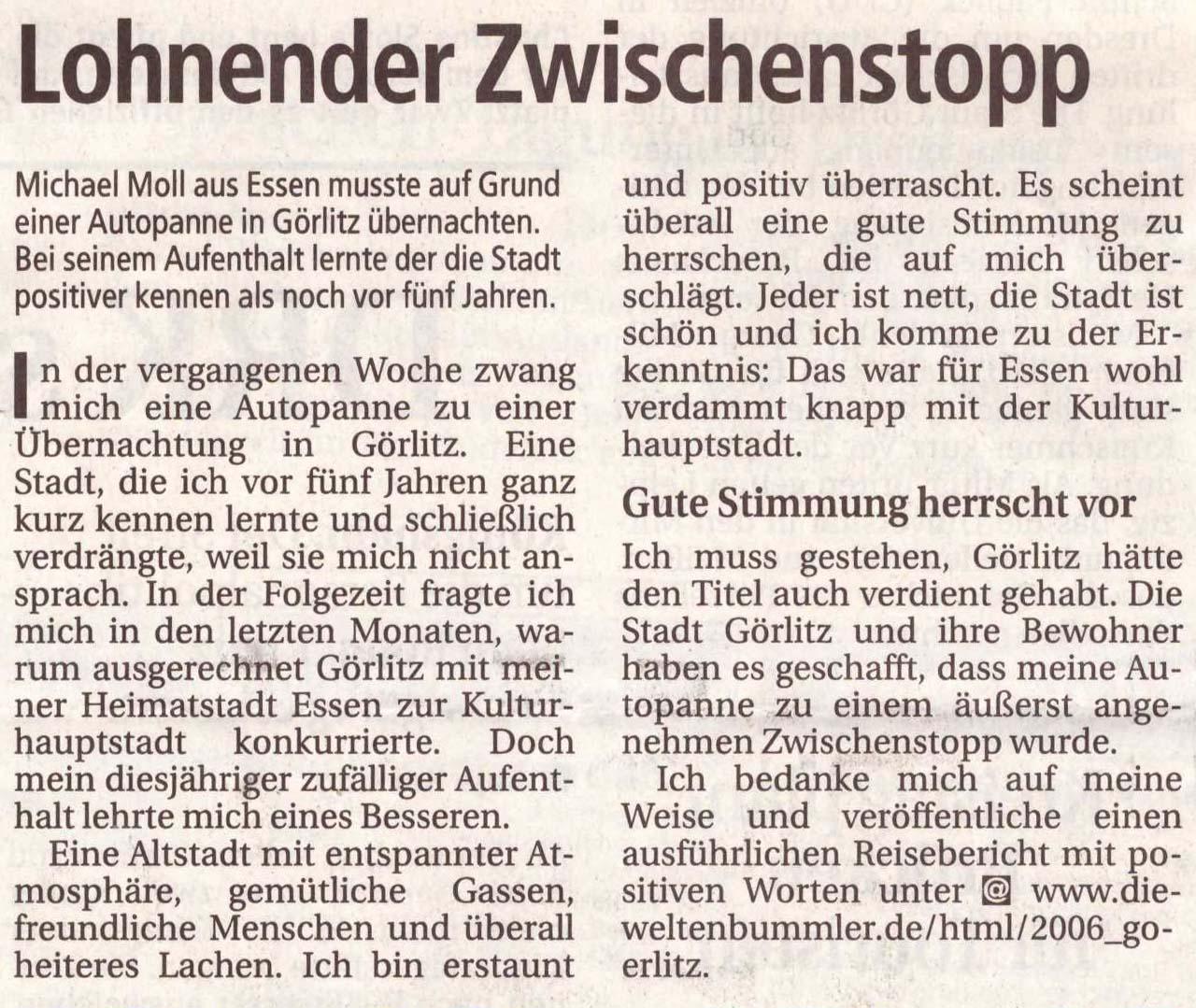 Sächsische Zeitung vom 18. Juli 2006