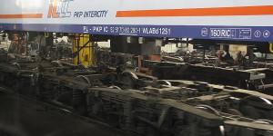 Montage der Drehgestelle in Brest