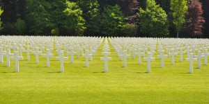 Grabsteine auf amerikanischen Soldatenfriedhof