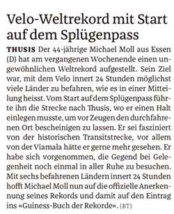 Bündner Tagblatt vom 8. Juni 2016