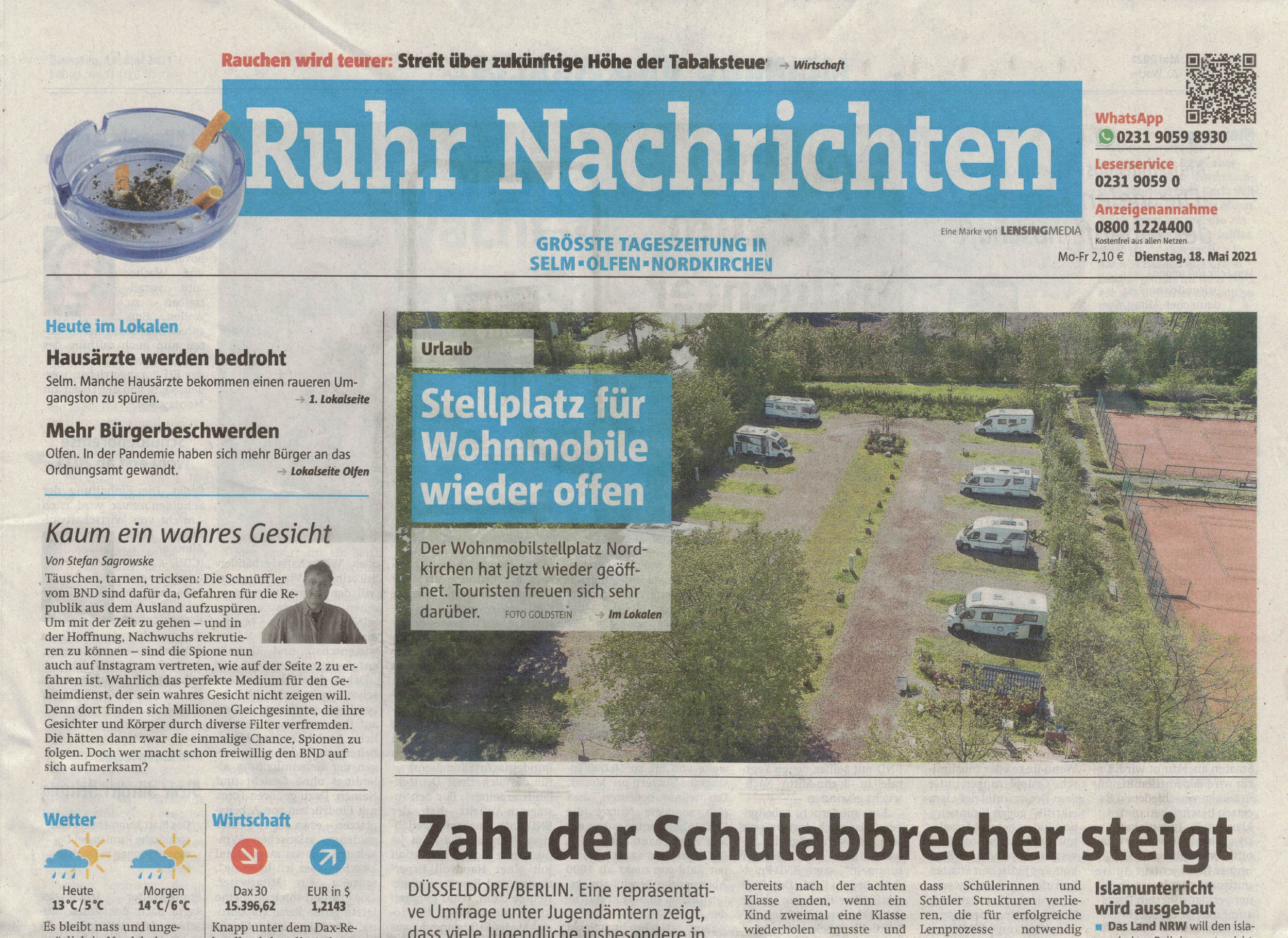 Ruhrnachrichten (Titelseite) vom 18. Mai 2021