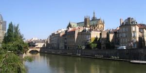 Metz Mosel mit Kathedrale