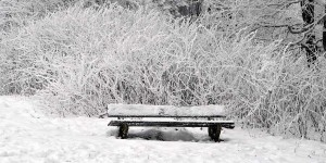 Verschneite Sitzbank
