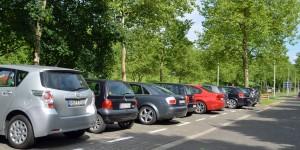 Zugeparkter Wohnmobilstellplatz