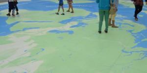 Weltkarte als Fußbodenbelag