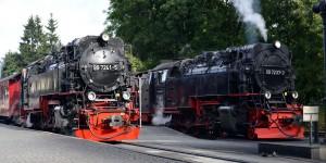 Zwei Züge am Bahnhof