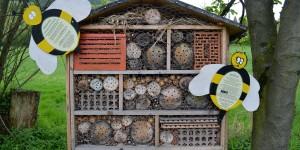 Insektenhotel mit Infos für Kinder