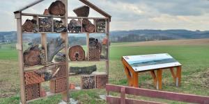 Insektenhotel mit Picknickplatz für Menschen