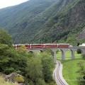 Der Zug auf dem Brusio-Viadukt