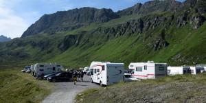Wohnmobile auf der Silvretta-Alpenstraße