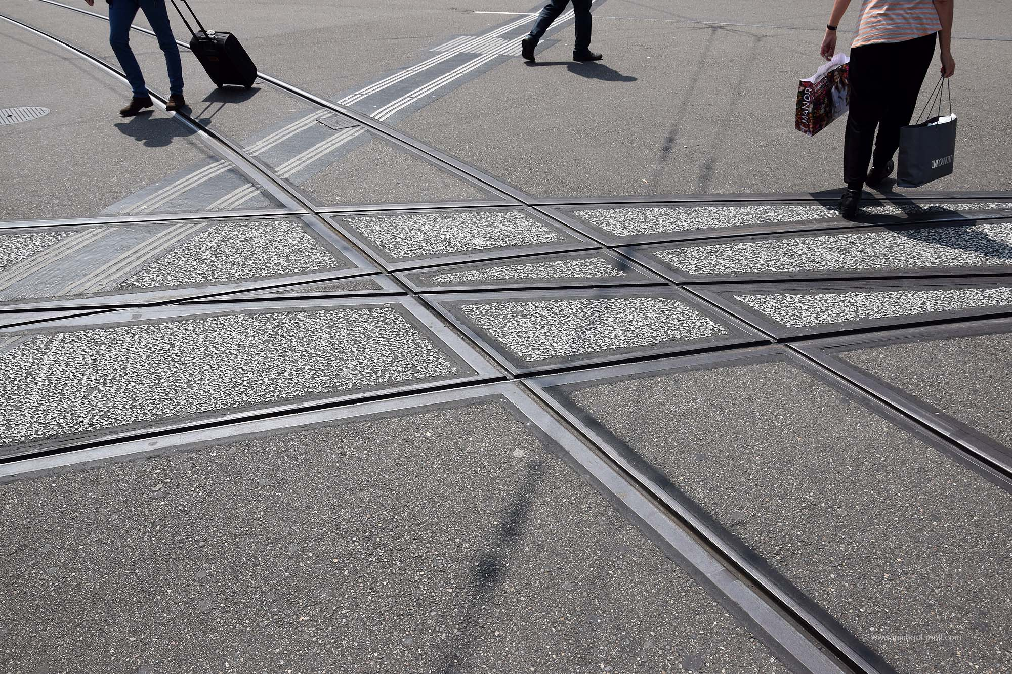 Straßenbahn-Knotenpunkt in Basel