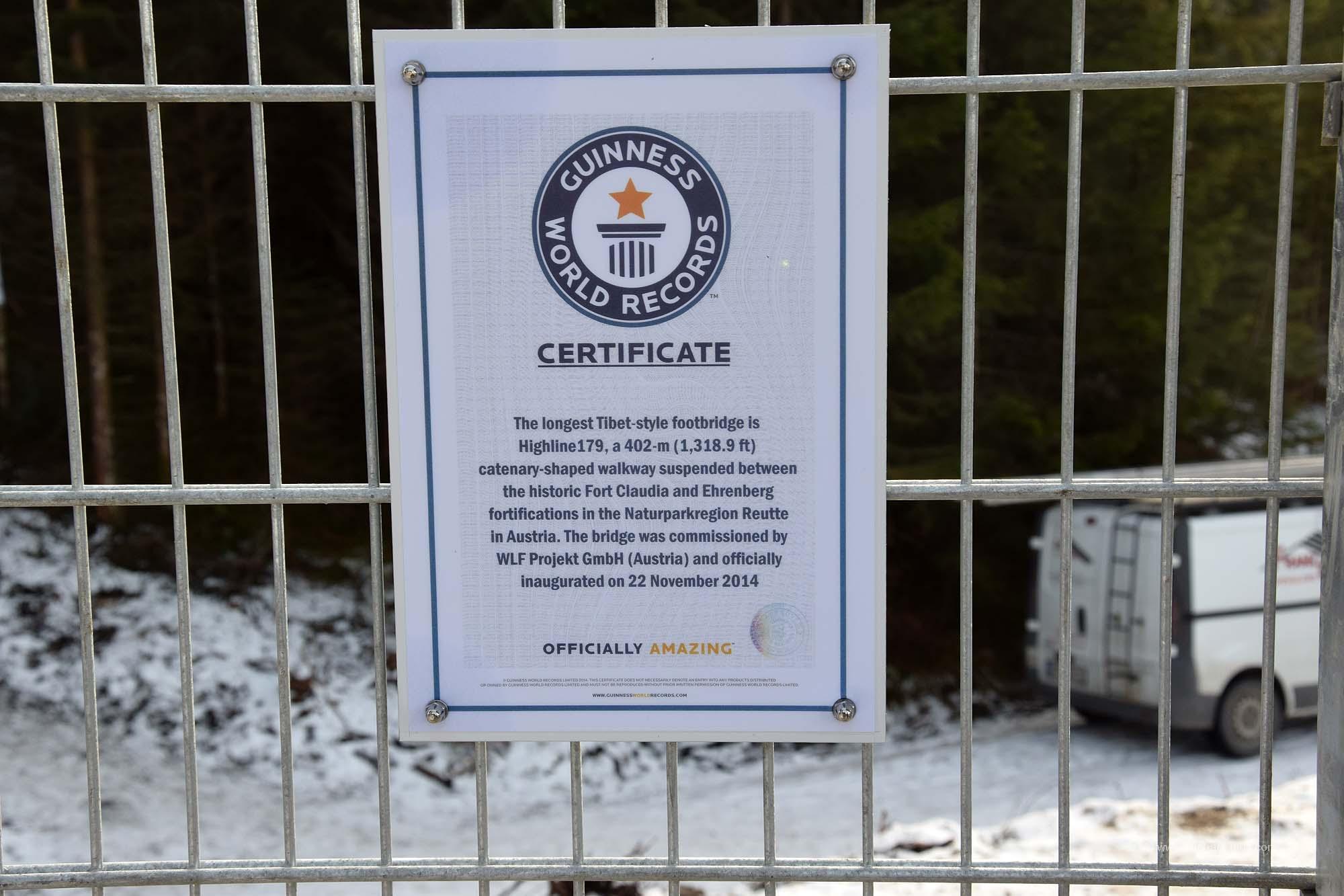Auszeichnung vom Guinnessbuch