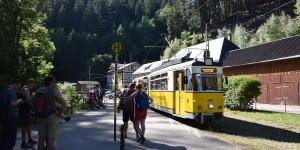 Ankunft der Kirnitzschtalstraßenbahn