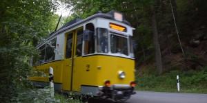 Straßenbahn im Wald