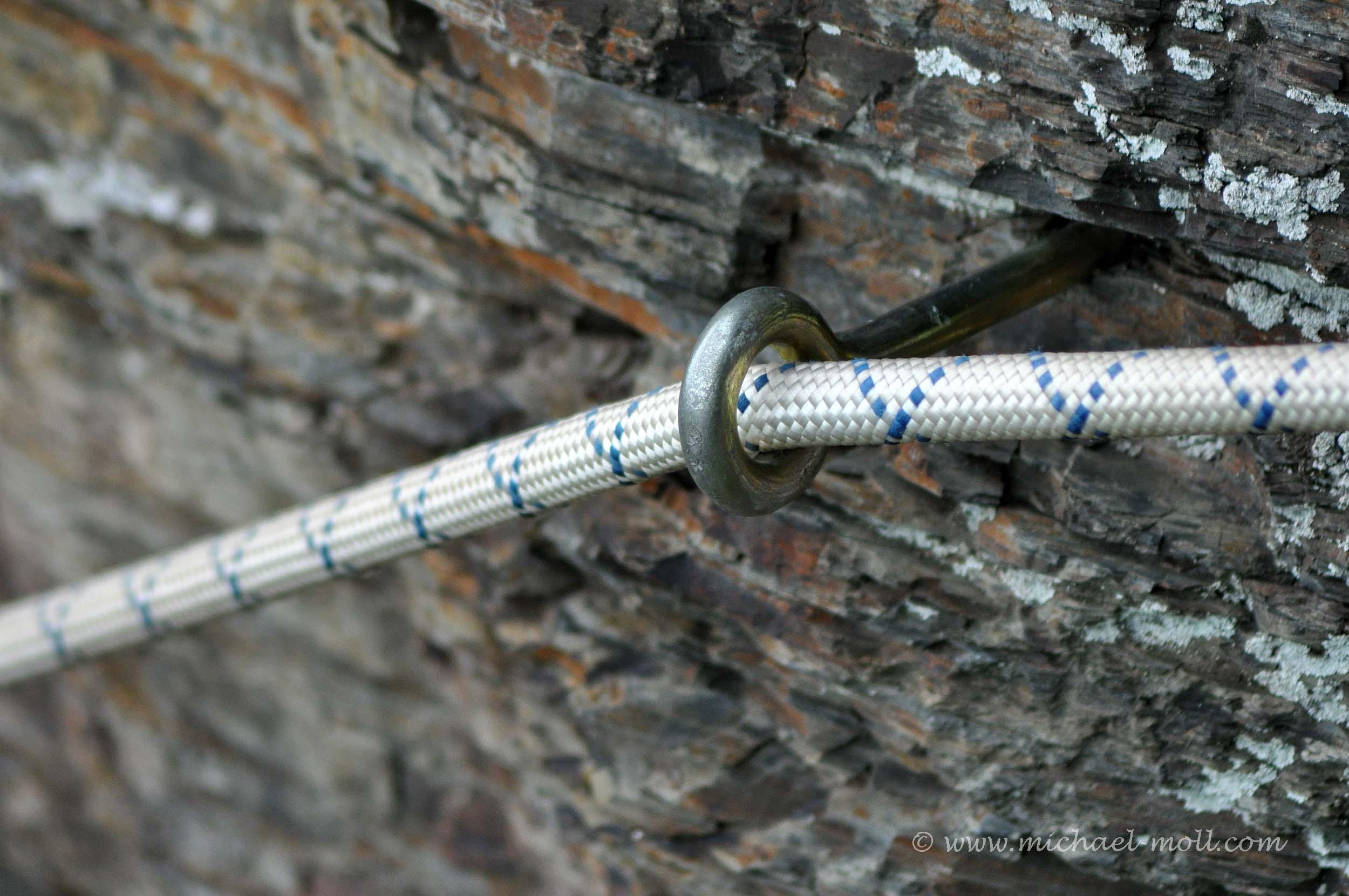 Seilsicherung im Klettersteig