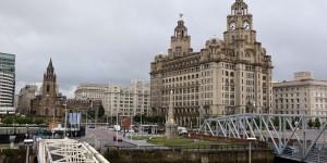 Historische Häuser im Hafen von Liverpool