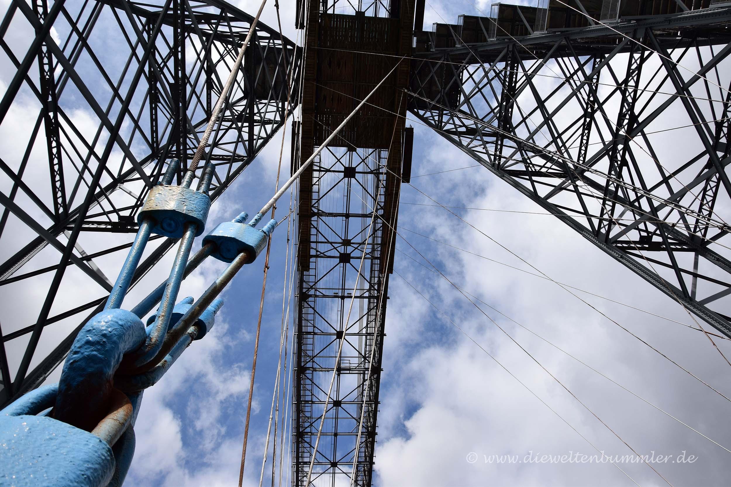Blick nach oben zum Brückenträger
