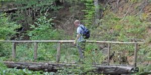 Wackelige Holzbrücke
