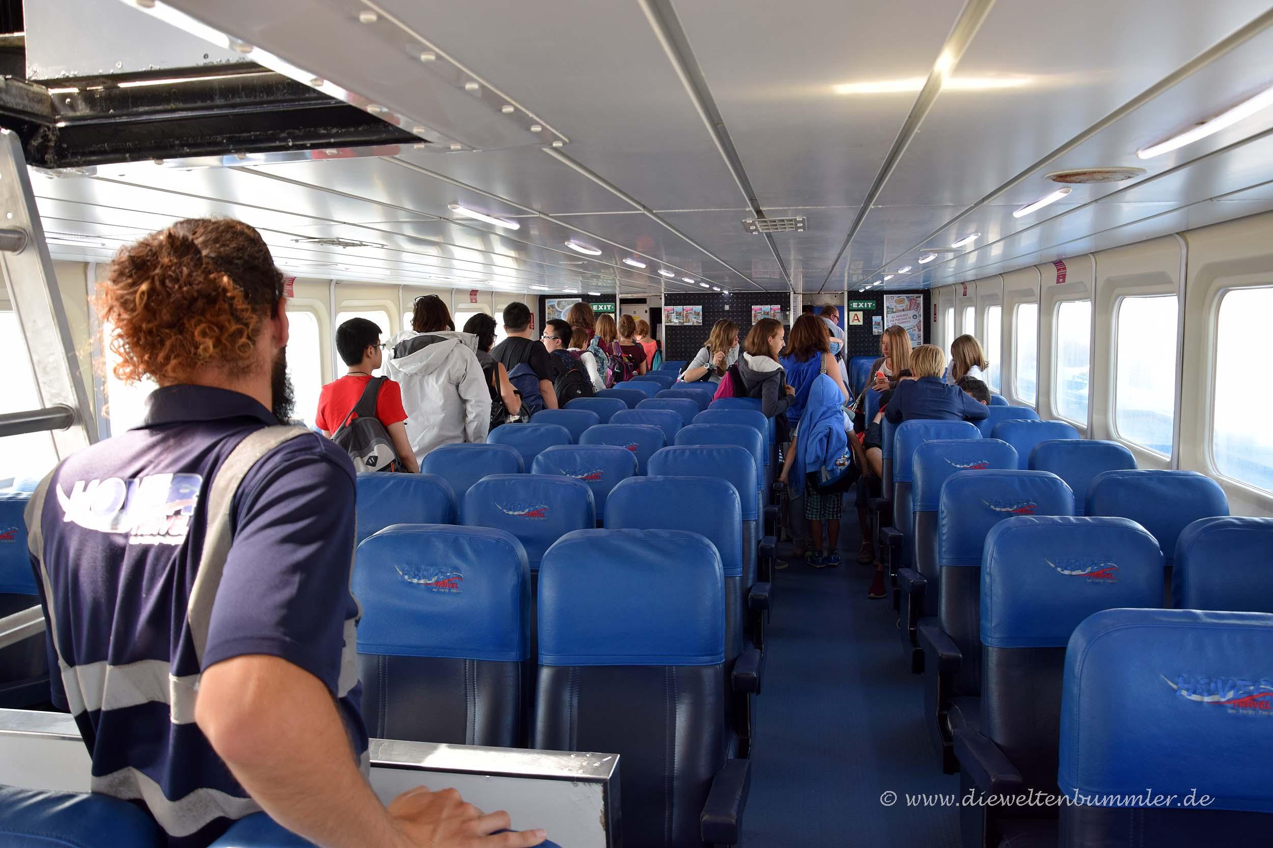 Im Inneren des Luftkissenboots