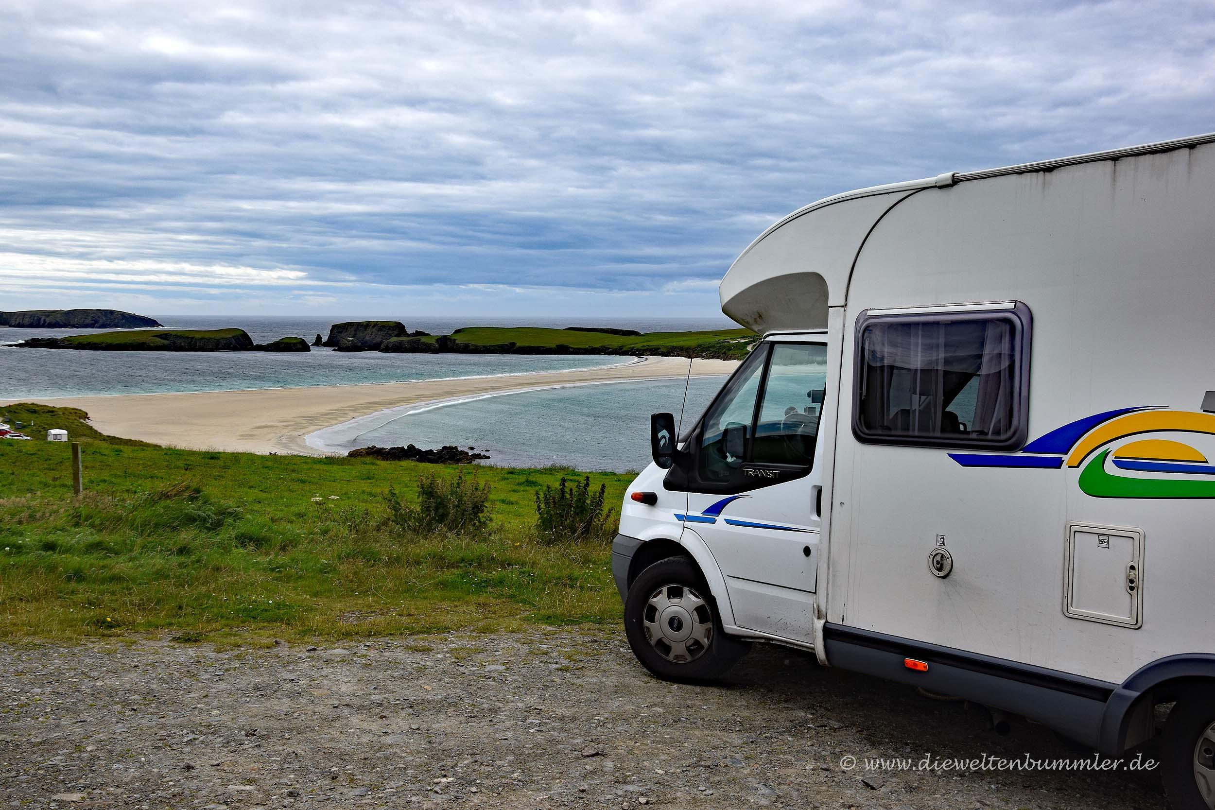 Wohnmobil auf den Shetland-Inseln