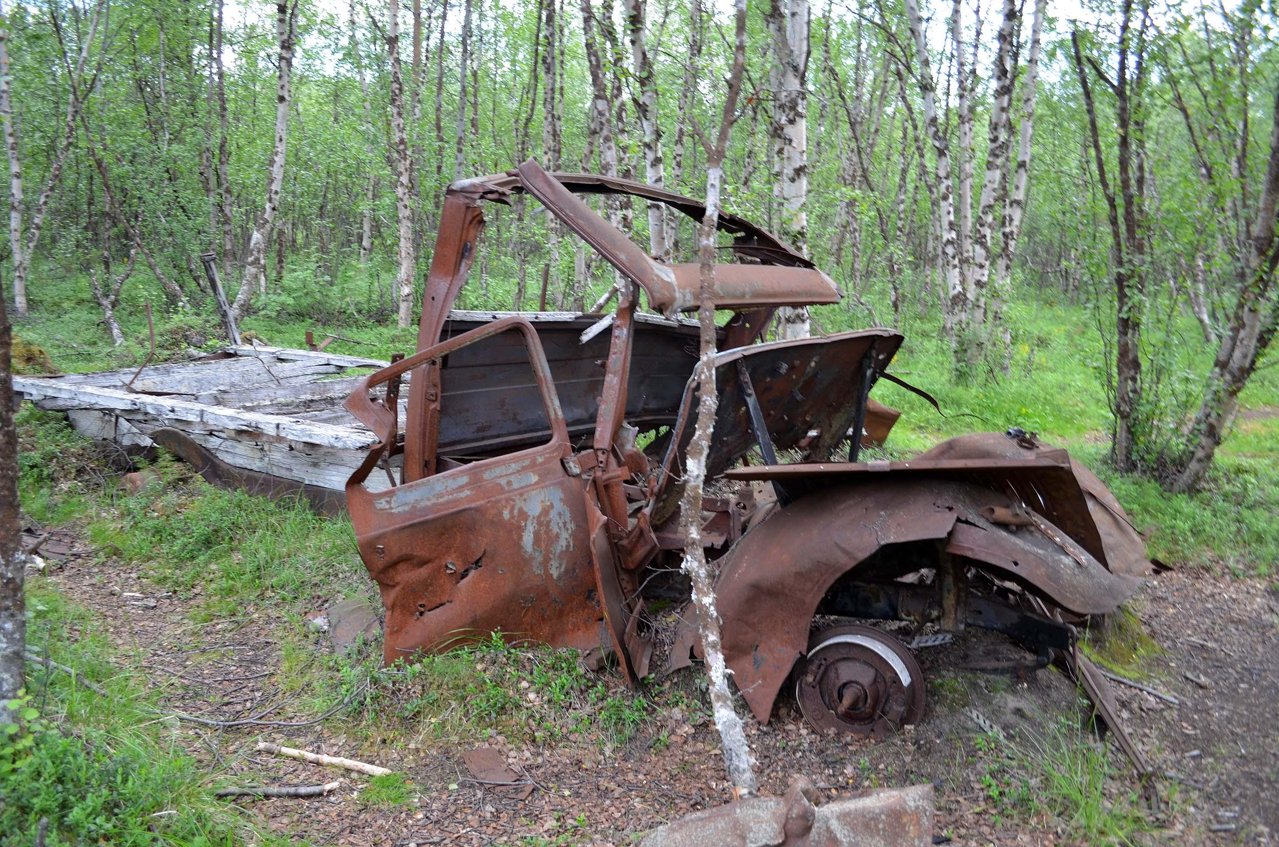 Verrostetes Auto im Wald