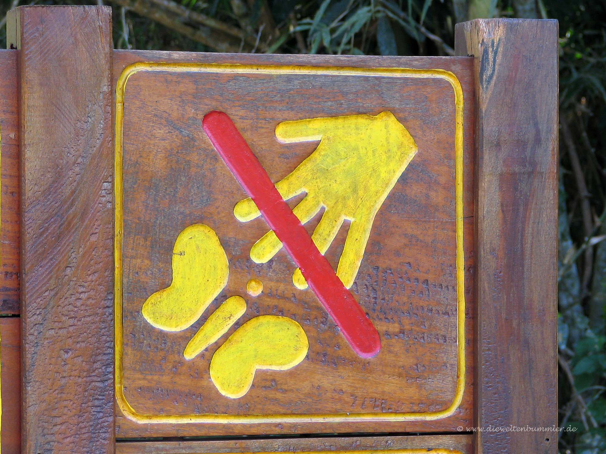 Schmetterlinge berühren verboten