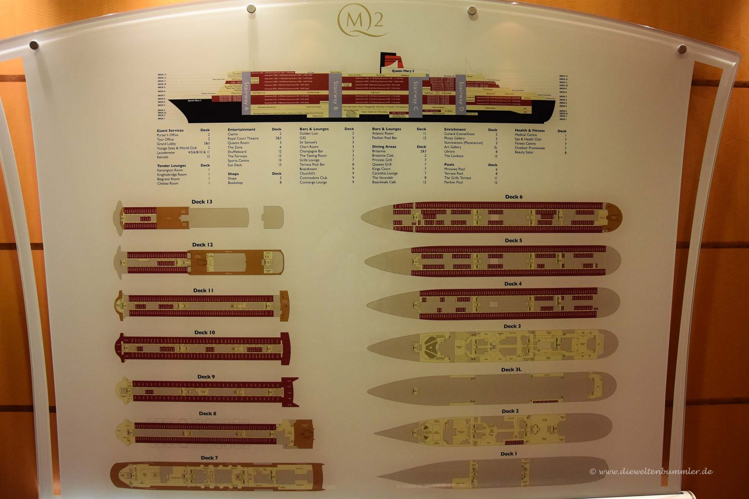 Deckplan der Queen Mary 2