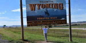 Grenzschild von Wyoming