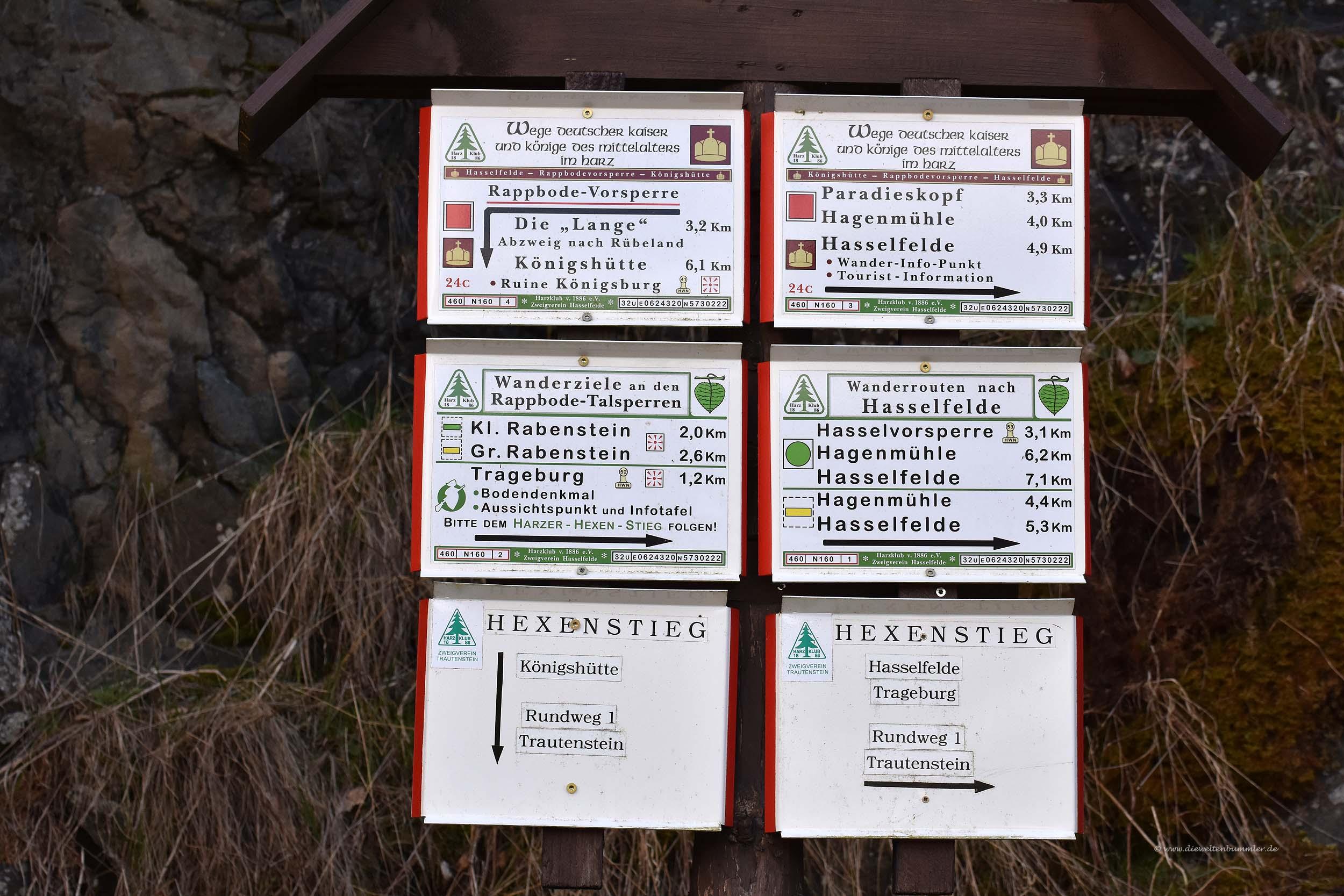 Schilder auf dem Wanderweg