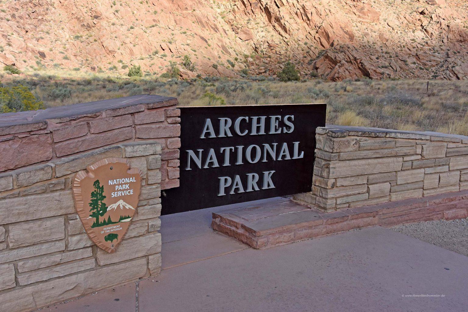 Eingang zum Arches National Park