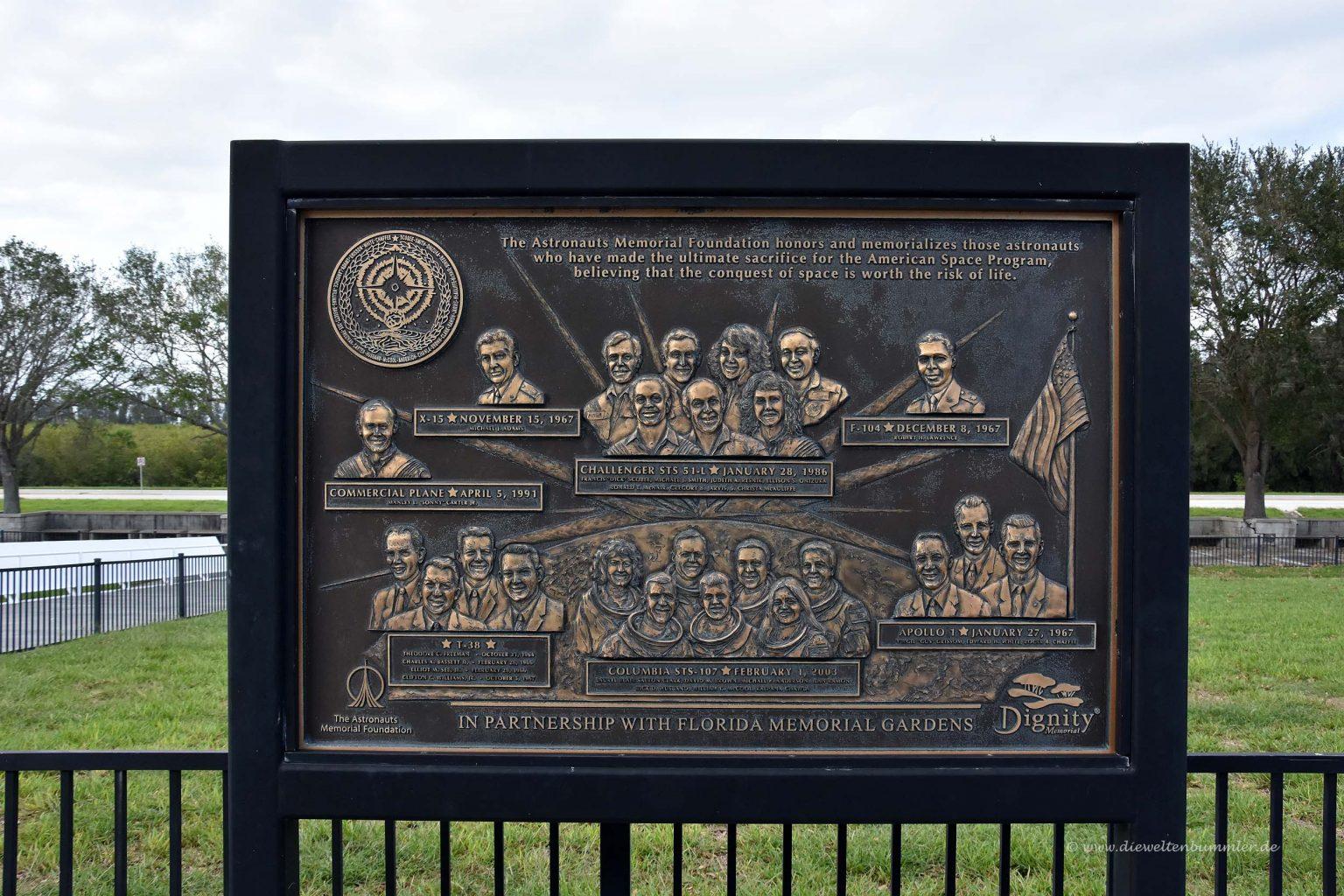 Gedenken an verstorbene Astronauten