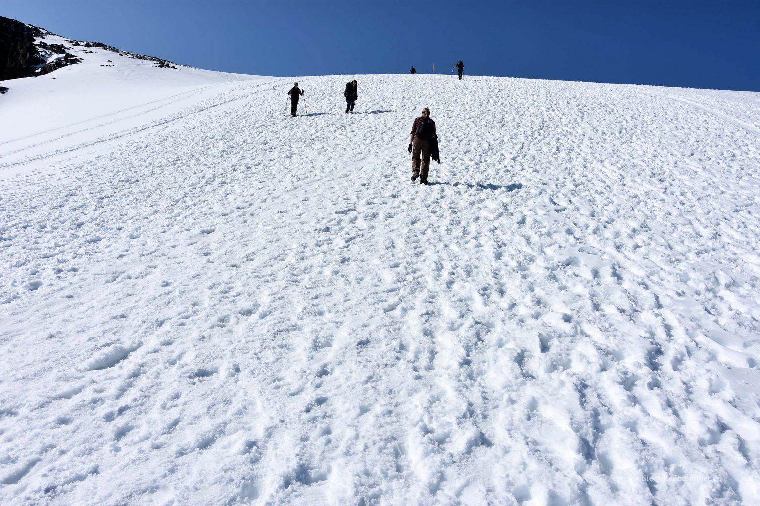 Die letzten Höhenmeter vor dem Gipfel