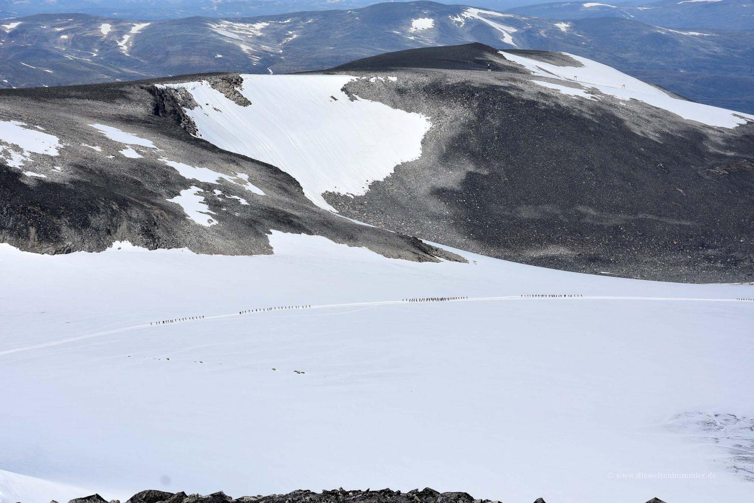Geführte Gruppe über den Gletscher