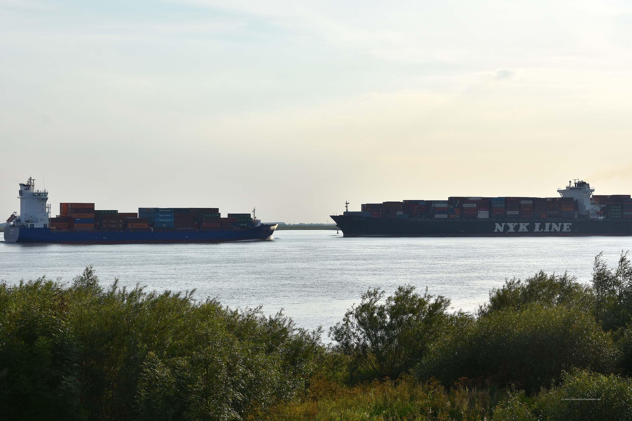 Frachtschiffe auf der Elbe