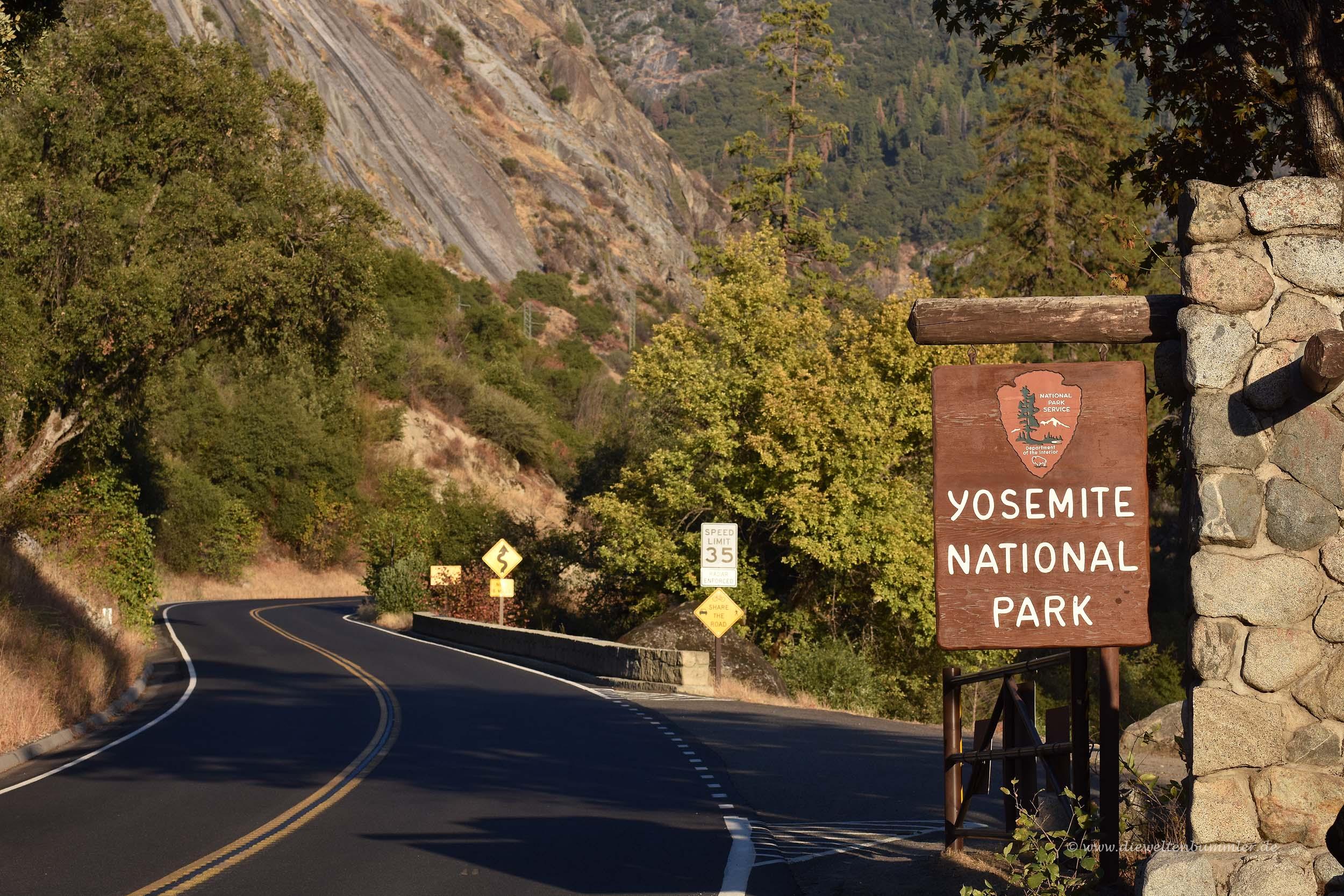 Zufahrt zum Yosemite-Nationalpark