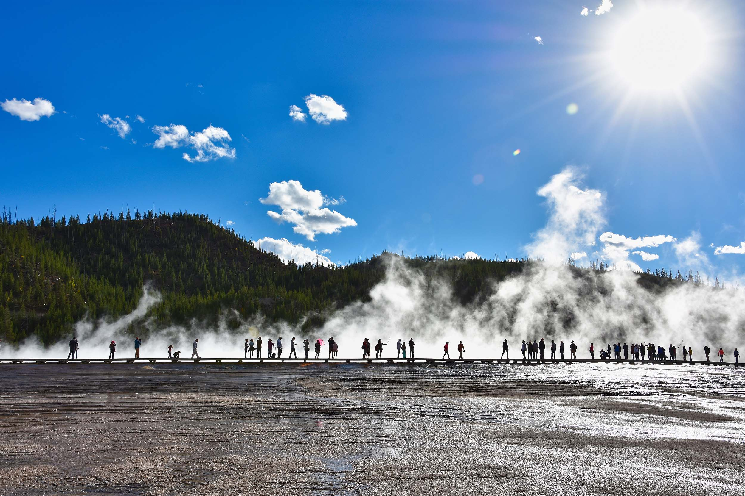 Dampf am Grand Prismatic Spring