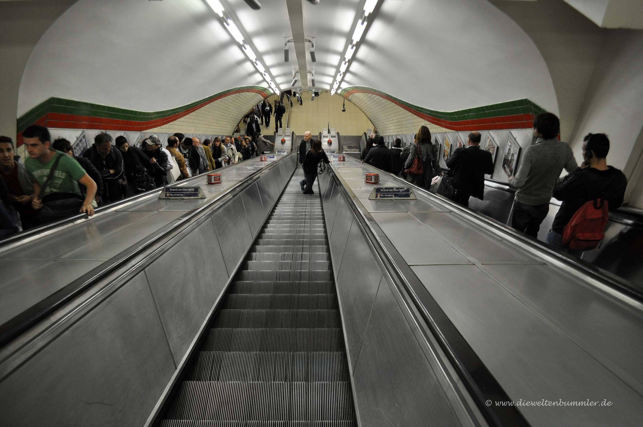 Rolltreppe in der Londoner Tube
