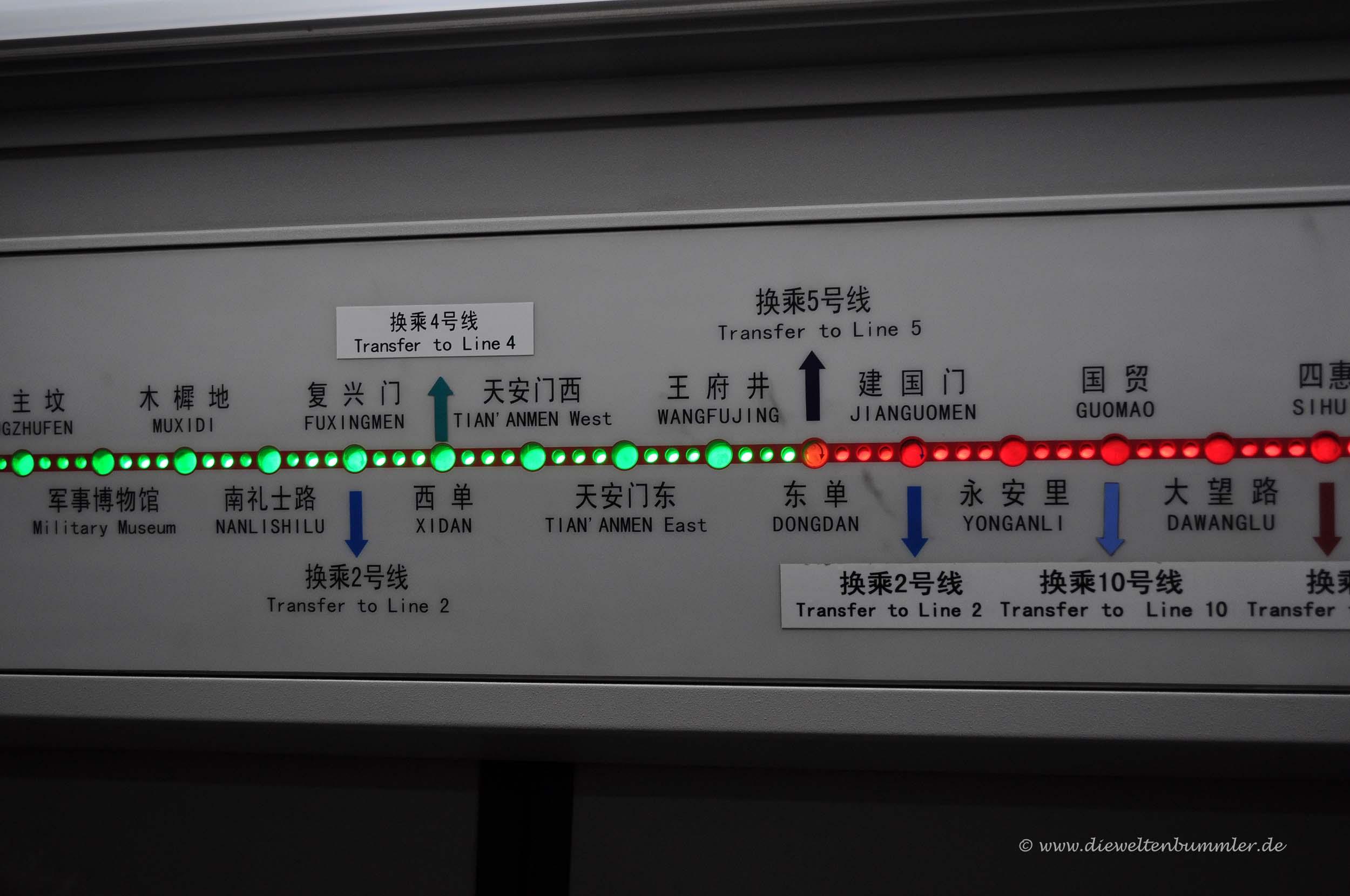 Simples System in Pekinger U-Bahnen