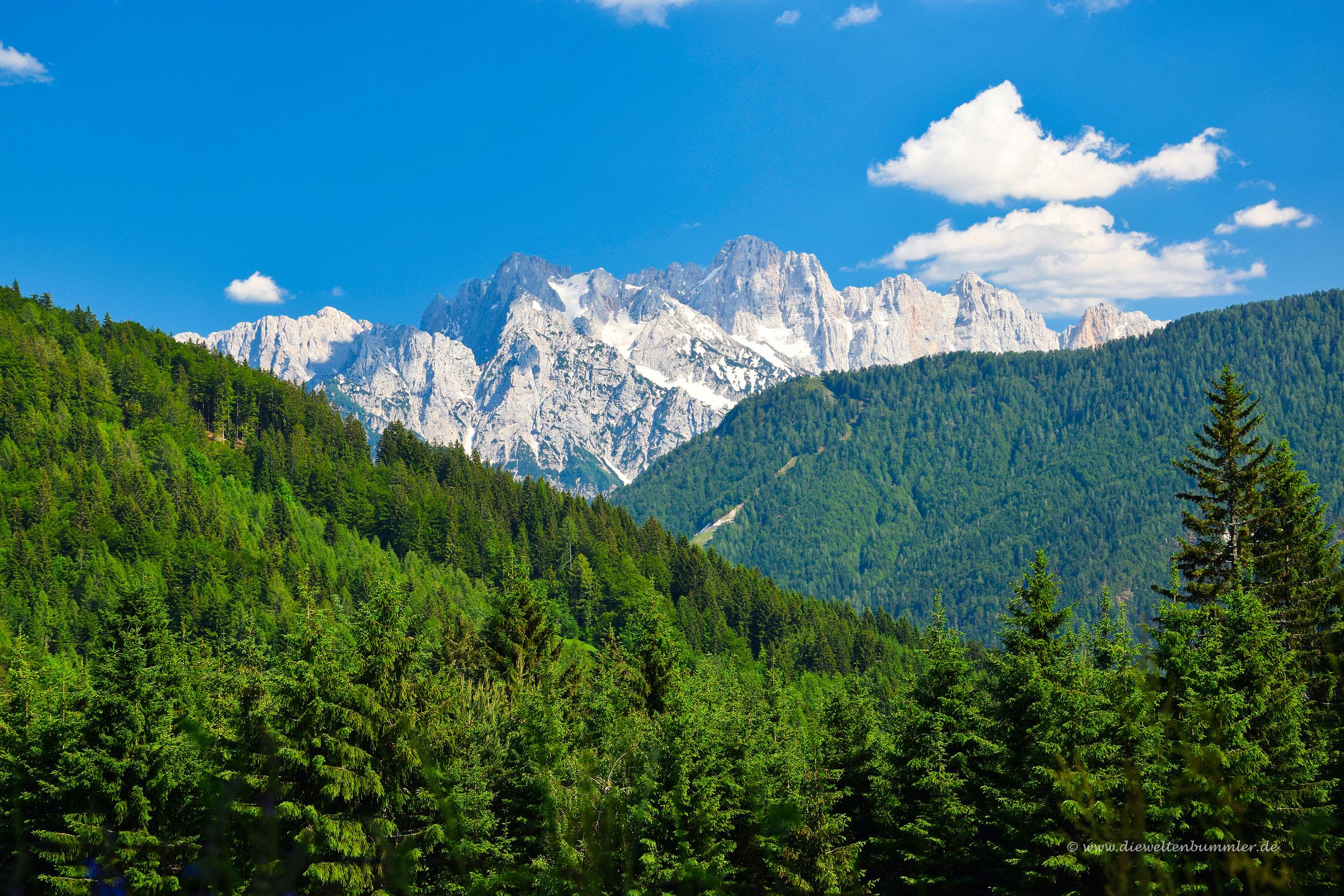 Ausblick zum Triglav-Gebirge
