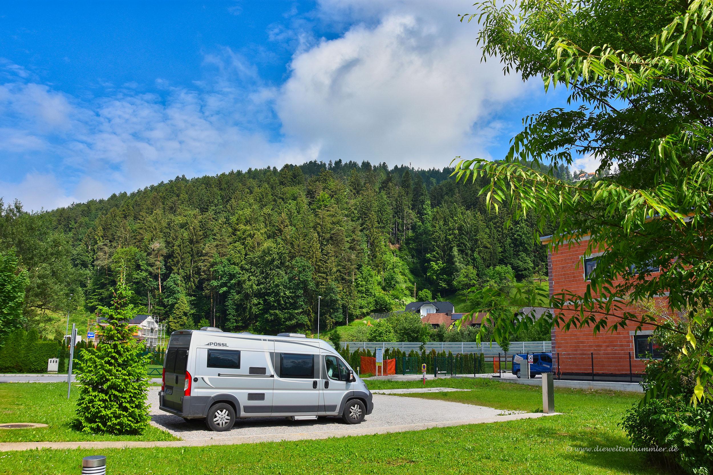 Wohnmobilstellplatz am Hostel in Slovenj Gradec